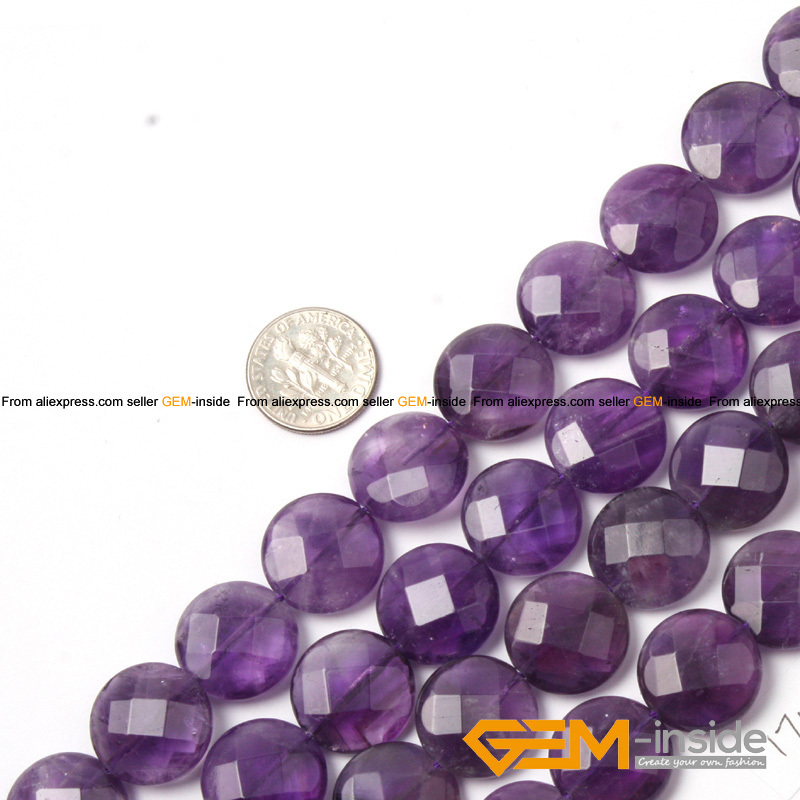 14mm & 17mm Coin Faceted Light Purple Amethysts Bead Natural Stone Beads Loose Beads For Jewelry Making Strand 15″ Wholesale !