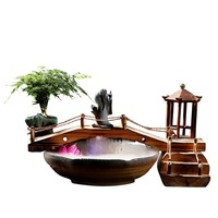 110V/220V Chinese Style Zen Feng Shui Fountain Flowing Water Desktop Ornaments Ceramic Fish Tank Lucky Office Home Decoration