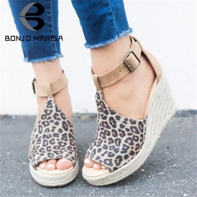 BONJOMARISA 2019 Mới Bán Nền Tảng Giày Sandal Nữ Mùa Hè Cao Nêm Nữ Giày Nữ Người Phụ Nữ Size Lớn 35-43 Thoải Mái giày xăng đan