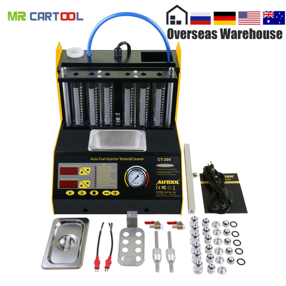 Autool CT200 Auto Fuel Injector Cleaner Tester 6 Cylinders Fuel Injector Cleaning Machine CT-200 Better Than Launch CNC602A