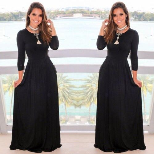 Women Sexy Long Sleeve Chiffon Party Long Maxi Dress Floor Length Black-in  Dresses from Women s Clothing on Aliexpress.com  885a610ebf9c