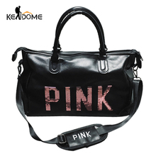 Rosa lentejuelas negro mujer bolso cuero gimnasio Fitness viajes bolsos al  aire libre espacio separado para fee74c79c28f3