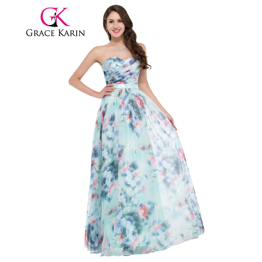Grace karin evening dress flower pattern floral print for Floral print dresses for weddings