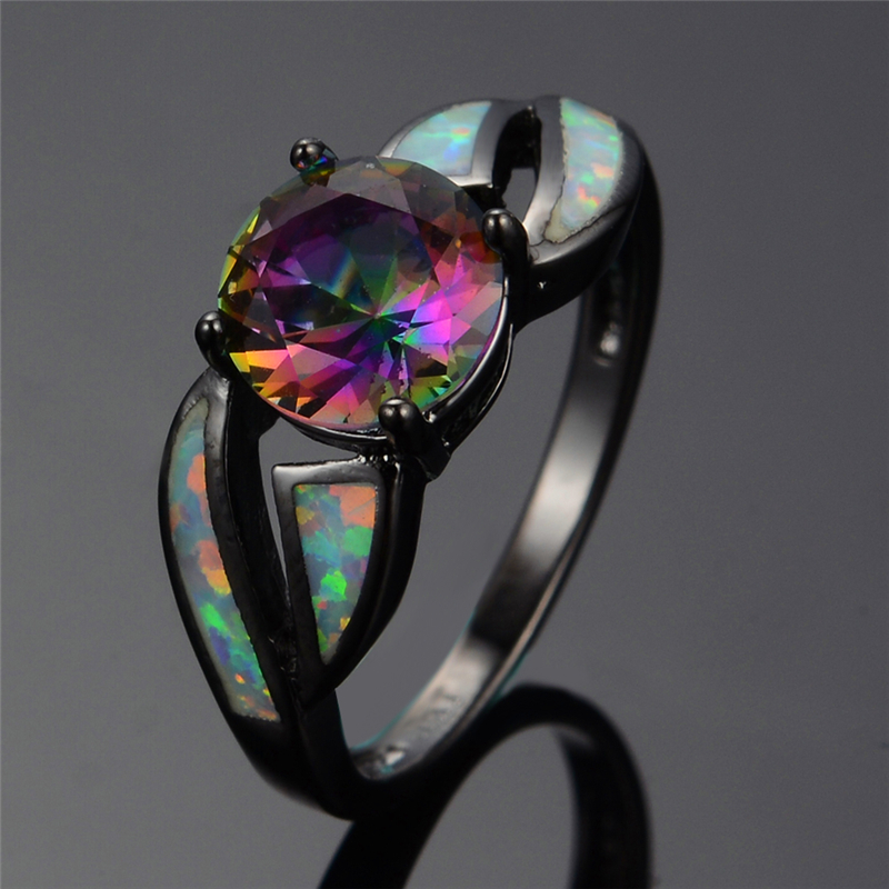 charming white fire opal ring colorful sappjire men women rainbow jewelry black gold filled engagement rings bijoux femme rb0276 in rings from jewelry - Black Opal Wedding Rings