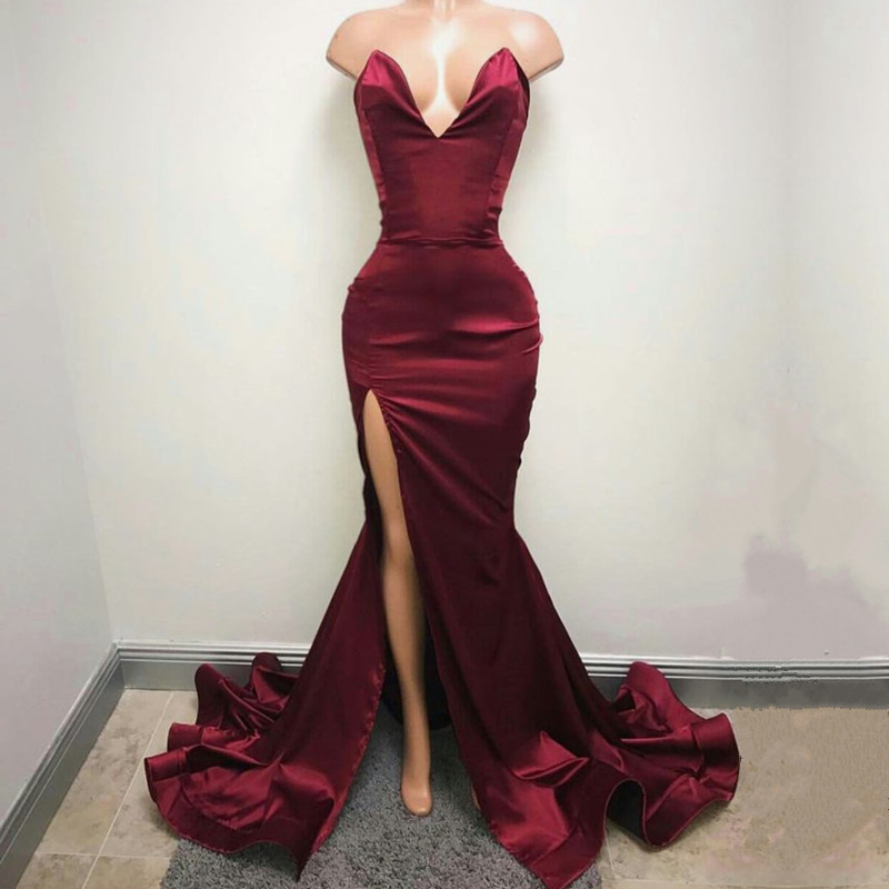 ba95b3ce13 Deep V Neck Leg Slit Long Satin Burgundy Prom Mermaid Dresses 2017 Sexy  Evening Gowns-in Prom Dresses from Weddings   Events on Aliexpress.com