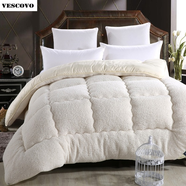 Wool Lhair Warm Winter Quilt Thicken Comforter Duvet Blanket Lamb Down Fabric Filling