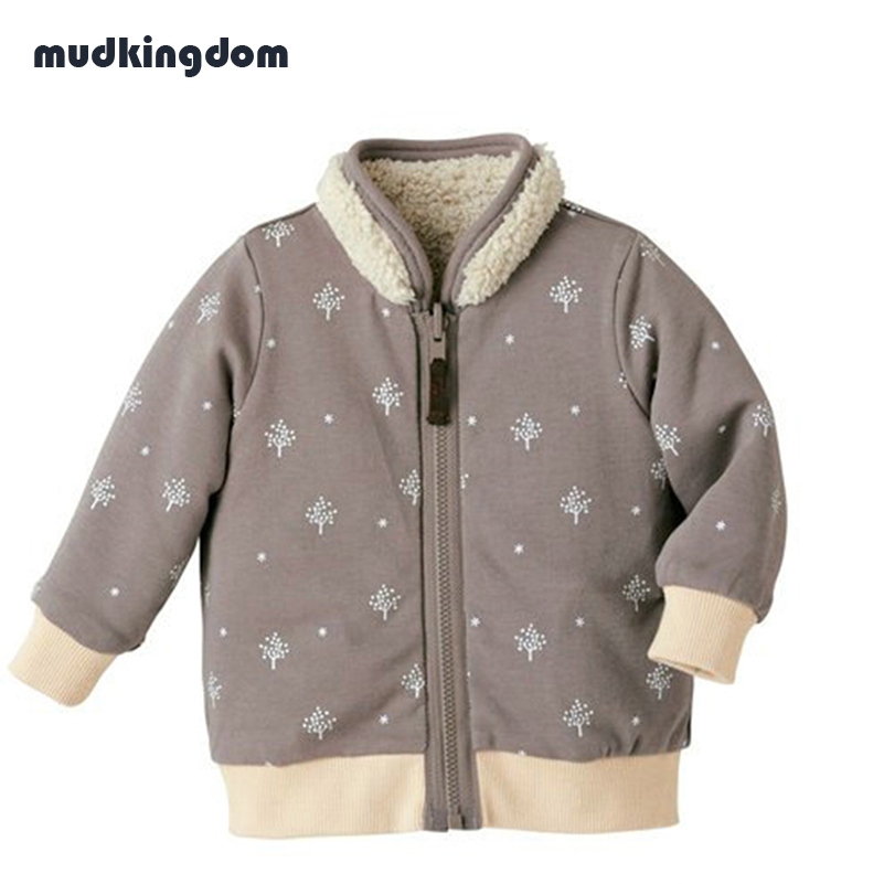 Mudkingdom Baby Boy Reversible Winter Jacket Warm Printed Outerwear Toddler Kids Hoodie Infant Animal Coats Wrap