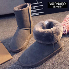 2016 Women's Winter Cowleather Snow Boots Australia Classic Women Plush Snow Boots Women Brand Warm Boots MId-Calf Shoes