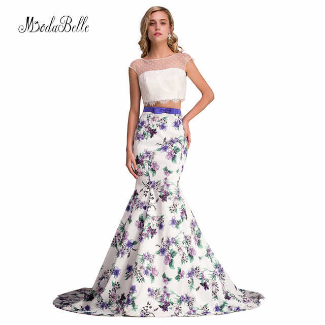 e3d82ad69b84 Spring Summer Style Floral Party Pageant Dresses For Girls Two Piece Long  White Lace Mermaid Print