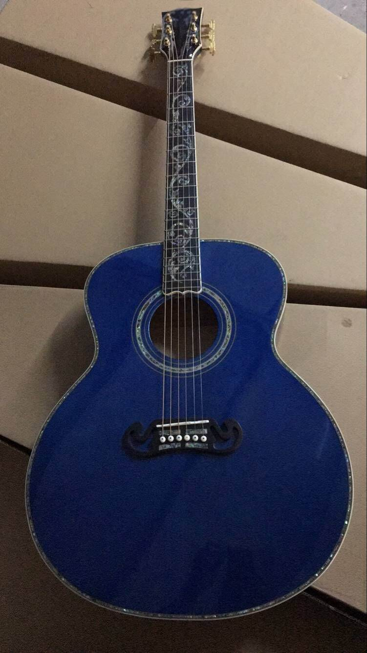 New Arrival SJ200 43# acoustic guitar soild wood abalone flower inlay with side binding top quality in blue 170625 electric guitar neck thru 7pcs real abalone binding red burst thin yellow center natural gutiar back ash wood grain body side