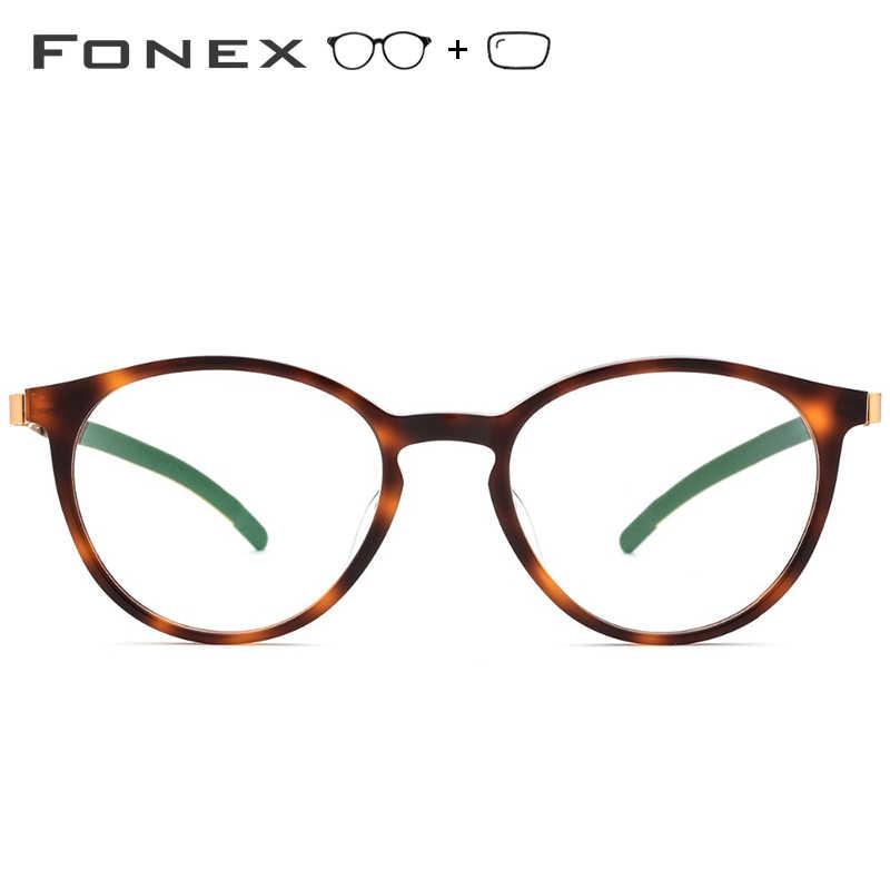 bab81286b ... B Pure Titanium Prescription Glasses Women 2019 New Vintage Round  Acetate Eyeglasses Men Myopia Optical Frames ...