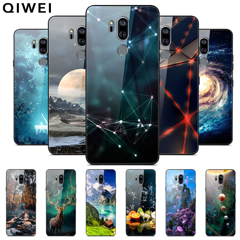 6.1'' Coque For LG G7 Thinq Case Glass Hard Back Cover For LG G7 Thinq G7thinq Phone Cases Black Soft Bumper Fundas Tempered