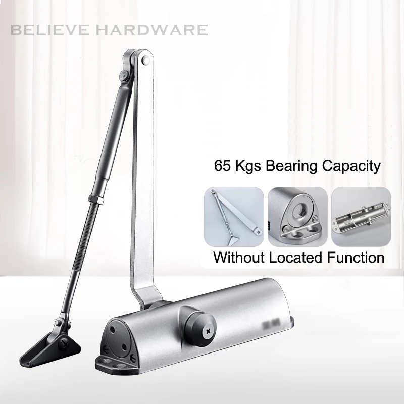 65 Kgs Bearing Capacity Hydraulic Buffered Door Closer Available For Wooden/Metal Doors Silver Color WM02703F commercial door closer 65 85kgs silver aluminium alloy for stainless fireproof iron doors