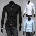 Бренд весна и осень элегантный свободного покроя мужские платье рубашки приталенный Fit длинная - рукав одежда для мужчины 3 цвета M-XXL