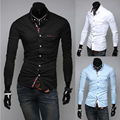 2014 New Brand Spring & Autumn Elegant Casual Mens Dress Shirts Slim Fit Long-sleeve Fashion Clothes for Men 3 Color M-XXL