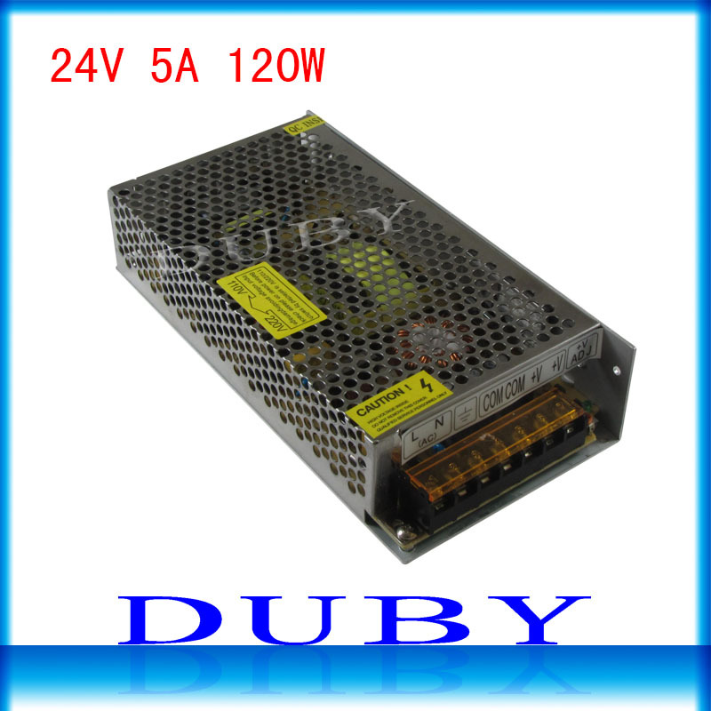10piece/lot 24V 5A 120W Switching power supply Driver For LED Light Strip Display AC100-240V  Factory Supplier  Free Fedex ac 85v 265v to 20 38v 600ma power supply driver adapter for led light lamp