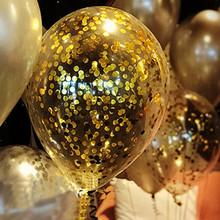 5 sztuk jasne balony złota gwiazda folia konfetti przezroczyste balony nadmuchiwane dekoracje ślubne piłki powietrza urodziny balony tanie tanio NoEnName_Null ROUND WJ-123-5 Ślub i Zaręczyny Ballon Lateks