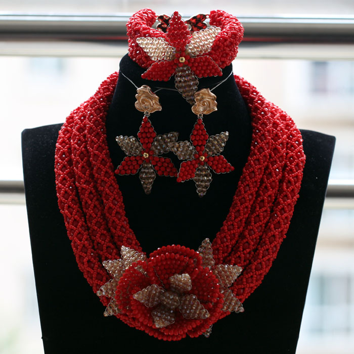 African Red Beads Bridal Wedding Jewelry Necklace Set Red and Gold Crystal Flower Necklace Earrings Bracelet Jewelry Set ABH495