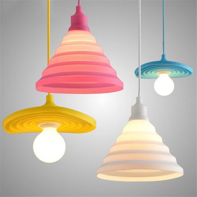Modern Pendant Lampu Colorful Silicone DIY Liontin Tidur Gantung Untuk Dapur Luminer Pencahayaan