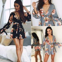 Women Summer Long Sleeve Floral Dress V Neck Floral Print Black Grey Party Beach Mini Dresses
