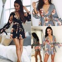 Women Summer Long Sleeve Floral Dress V Neck Floral Print Black Grey Party Beach Mini Dresses