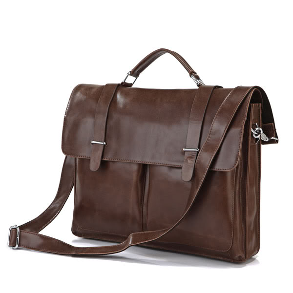 Augus 100% Guarantee Genuine Leather Vintage Leather Fashion Brown Business Document Bag 15'' Laptop Bag Messenger Bag 7100B