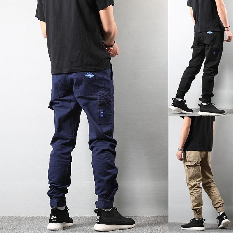 Vintage Fashion Streetwear Men's Jeans Jogger Pants Casual Leisure Big Pocket Cargo Pants Men Khaki Black Color Hip Hop Trousers