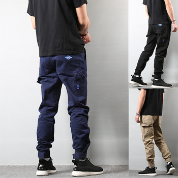 Vintage Fashion Streetwear Men's Jeans Jogger Pants Casual Leisure Big Pocket Cargo Pants Men Khaki Black Color Hip Hop Trousers