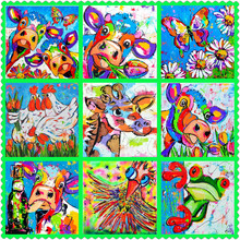 Watercolor cow chicken frog 5d diy diamond painting color butterfly full square / round drill mosaic 3d diamond embroidery 20×20