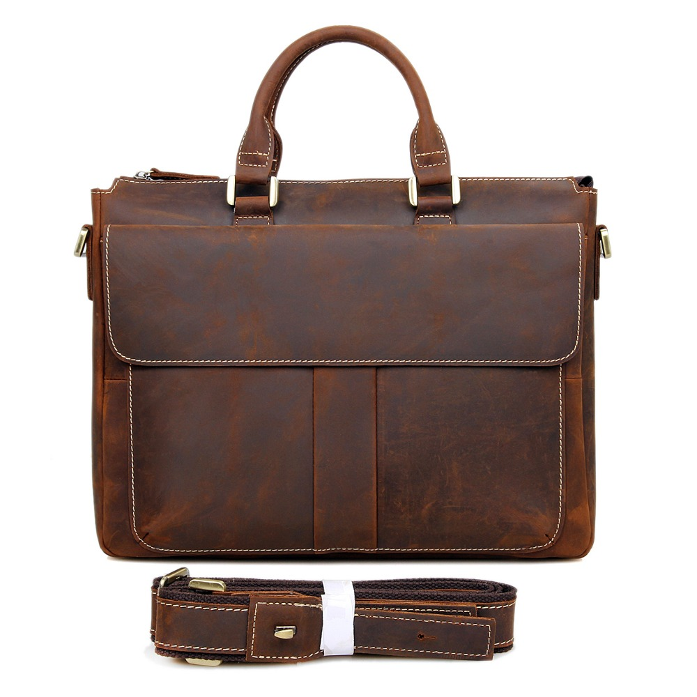 Rare Crazy Horse Leather Laptop Briefcases Best Selling Men's Shoulder Bag Vintage Handbag For Man 7113R-2