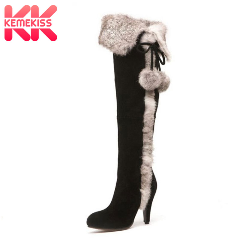 KemeKiss women real leather high heel over knee boots cotton snow long boot warm winter botas mujer heels shoes R7747 size 34-40 size 30 45 women real genuine leather flat over knee boots long boot warm winter botas mujer brand footwear heels shoes r7761