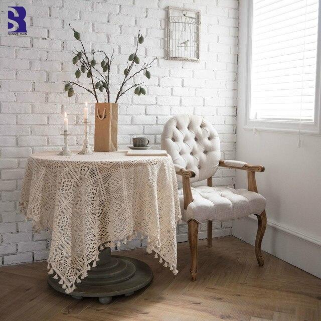 SunnyRain 1 pieza mantel hueco de encaje ganchillo para mesa comedor  rectangular cubierta centro