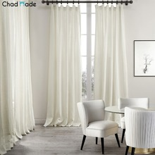 ChadMade Premium 2-Layer Plain Hooks Heading Solid Natural Linen Cotton Chinese Curtain Drapery (1 Panel) For Living Room MaSha1(China)
