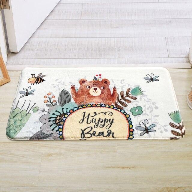Happy Bear Printing Kitchen Doorway Sofa Bathroom Mat Carpet 4 Sizes Cute Kids Bath Rugs Mat Anti Slip Floor Carpet Mat tapete