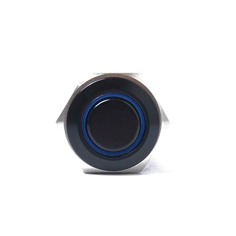 16 мм 12 В Кнопка с блокировкой кнопка выключателя питания черный металл синий светодиодный водонепроницаемый кнопка переключения, переключатель синий свет r30
