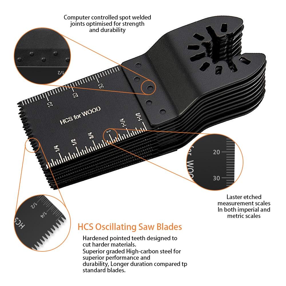 קרסים עופרות אביזרים וביגוד Multi-Function 20pcs Bi-מתכת המסור Precision Blade נדנוד Multitool להב המסור עבור PVC עץ קשה חיתוך Multi-Tools 29 (3)