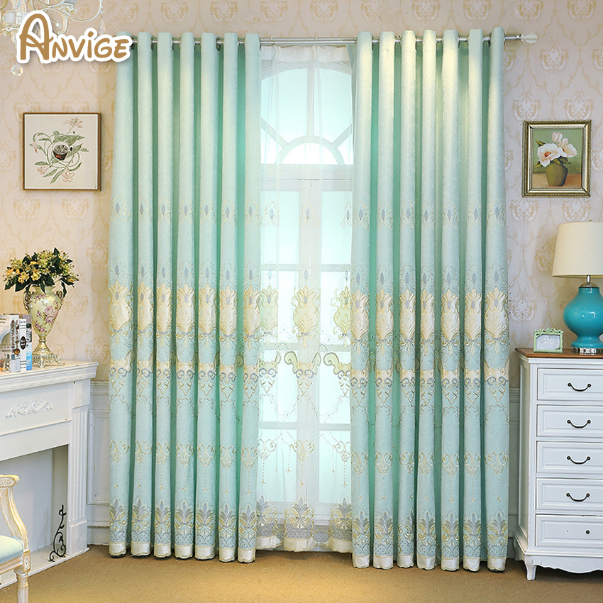 High Window Curtains: 2018 New European Royal Embroidered Blackout Curtains For