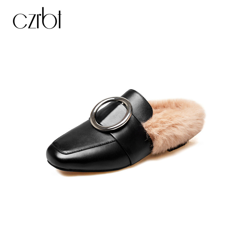 CZRBT Fashion Women Winter Spring Mules Flats Loafer Shoes Genuine Cow Leather Handmade Shoes With Top Rabbit Natural Soft Fur handmade mens dress shoes italian leather studded flats loafer shoes men casual shoes fashion spiked loafer 35 46