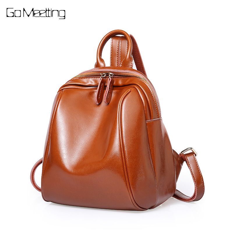 Go Meetting Real Cow Leather Fashion Women Backpack Classic Lady Daily Casual Travel Bag Preppy Style Schoolbag For Girl Bagpack 1pcs vacuum cleaner storage package for dyson v6 v7 v8 dc62 suction head storage bag