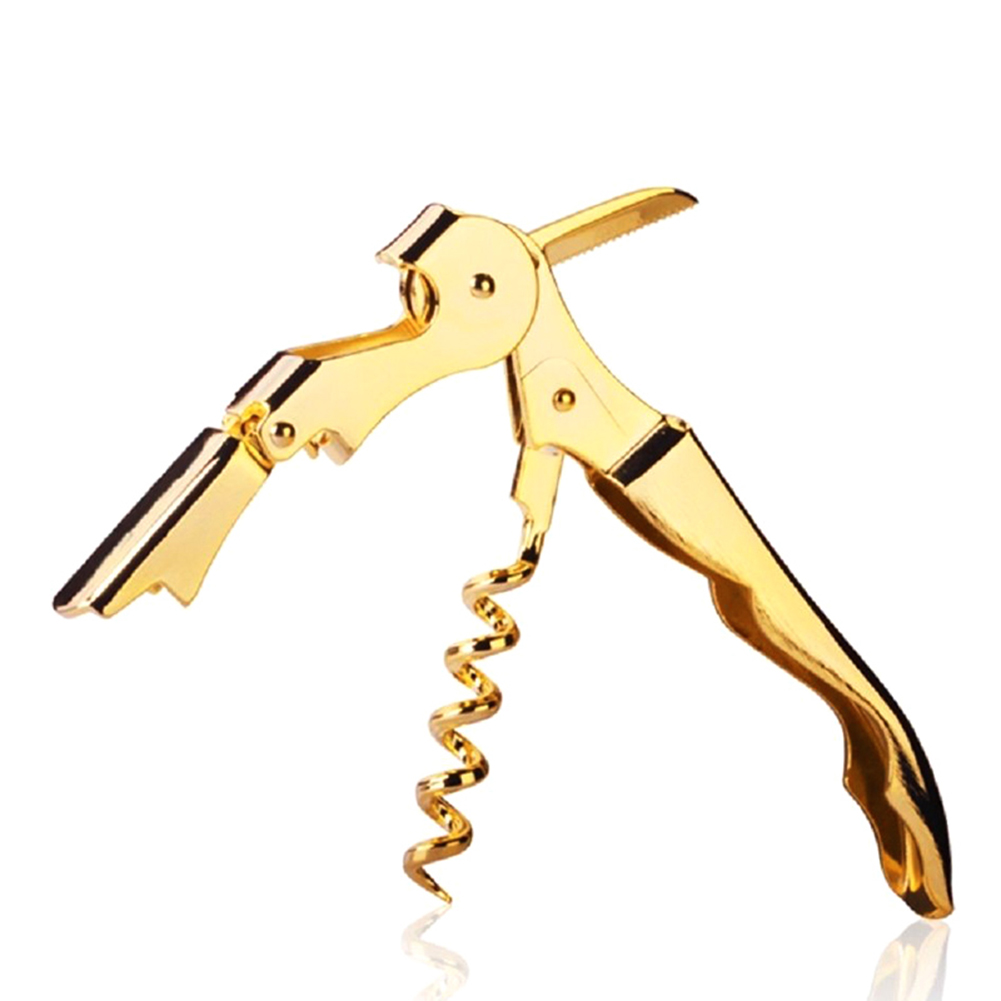 Gold Plated Corkscrew Double Hinge Waiters Wine Key Bottle Opener Party Bottle Opener FPing