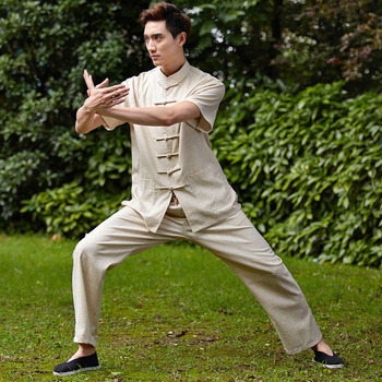 New Arrival Chinese Traditional Men's Solid 100% Linen Short Sleeves Shadowboxing Kung-Fu Jacket Suits Sets  M-3XL WNS201505
