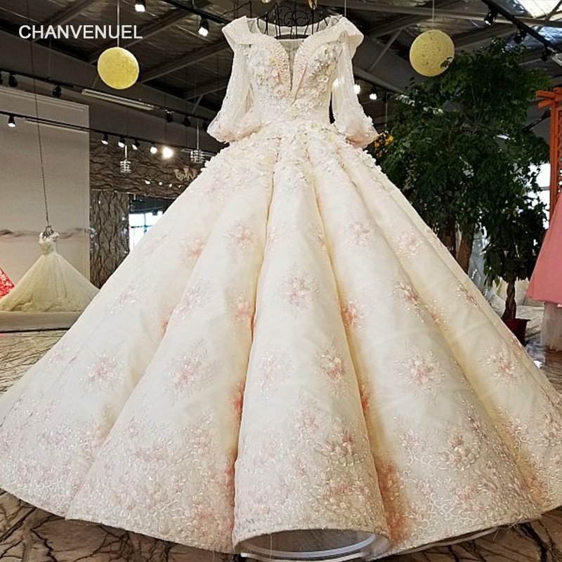 LS69412 luxury wedding dresses ball gown three quarter sleeve aliexpress china bridal wedding dress gowns 2019