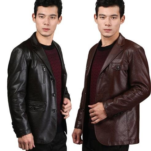 2012 influx of men fashion men's slim suits men casual leather jacket  red brown/dark coffee suit collar GLM006