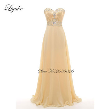 Liyuke A Line Pleat With Elegant Beading Floor Length  Prom Dress Strapless Party Dress Customs Dresses Custom Made