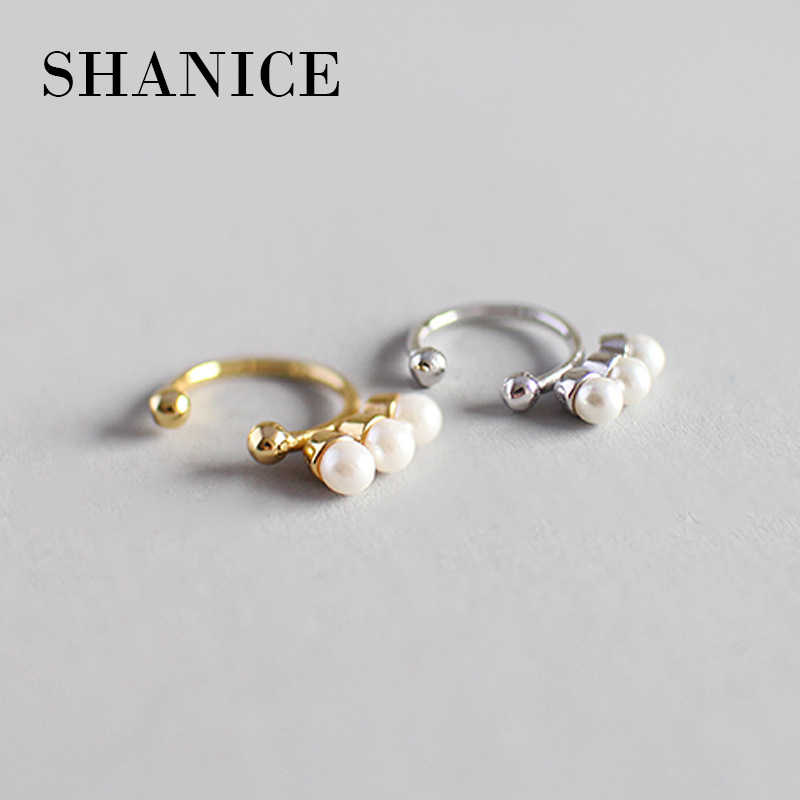 SHANICE 100% 925 Sterling Silver Shell Mutiara Telinga Manset Klip Pada Earrings Wanita Fashion Gadis Tanpa Piercing Earings Perhiasan