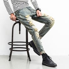 Men Hole Denim Jeans Skinny Nostalgic retro Frayed Light jeans Pants Distressed Rip Trousers Zipper Slim loose casual daily(China)