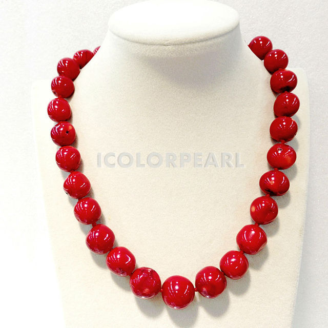 13x16mm Big Near Round Red Man-made Coral Necklace . Beautiful Wedding Jewelry For All Girls.