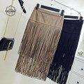 2016 Nueva Primavera de Europa de Moda Retro Borla Sexy Falda De Cuero Doble Flecos Faldas de La Cadera Paquete Falda de Cintura Alta Mujeres Saias