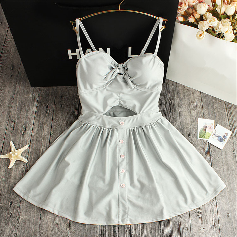 ФОТО STAR MENG lovely girl fresh and conservative swimwear gather small chest thin skirt boxer Siamese swimsuit Spa