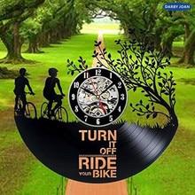 Bicicleta arte vinilo pared reloj regalo habitación moderna casa Vintage decoración disco